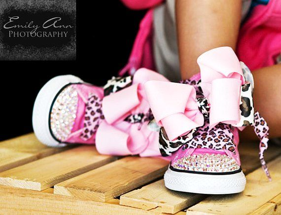 b2aba4513083 Converse PINK LEOPARD Bling Hi-tops in Size Infant 4 - 10 Toddler with  Swarovski Crystals - Perfect for Safari Birthdays