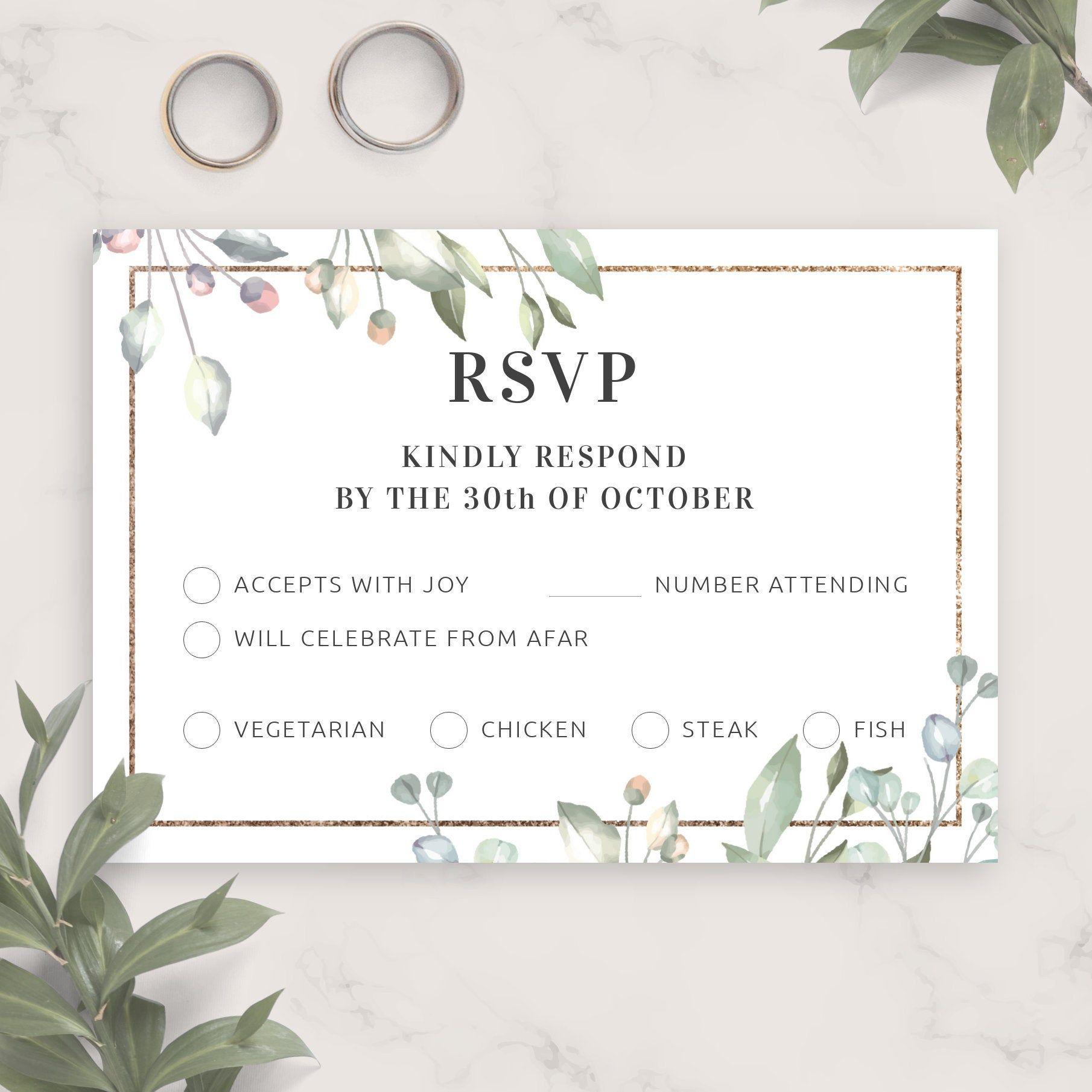 Floral Elegant Wedding Rsvp Card Template Printable Wedding Rsvp Postcard Editable Response Card Kindly Reply Pdf Jpg Png In 2020 Rsvp Wedding Cards Wedding Rsvp Postcard Wedding Rsvp