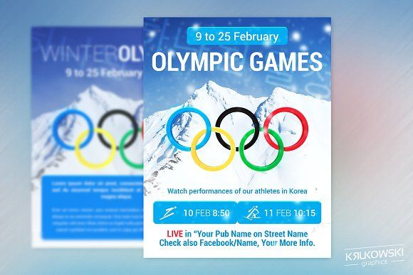 winter olympic games pub flyer by krukowski graphics on  creativemarket