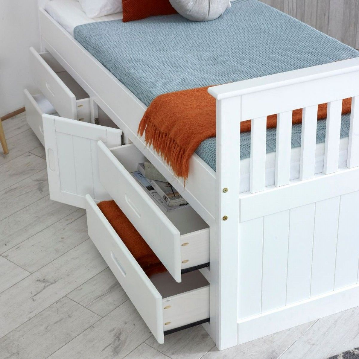 Captains White Wooden Storage Bed Wooden bed with