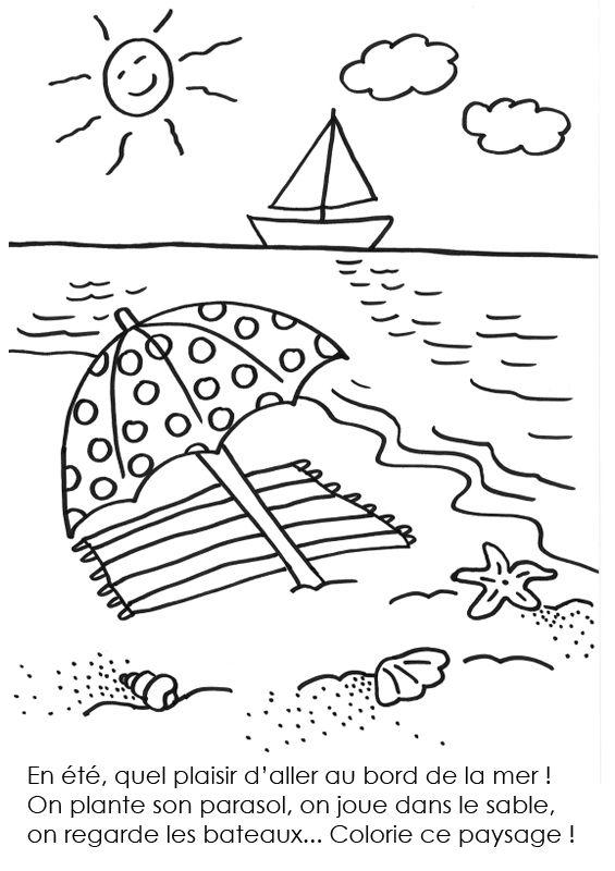 Coloriage A Imprimer L Ete Au Bord De La Mer Coloriage Dessin De Plage Coloriage Mer