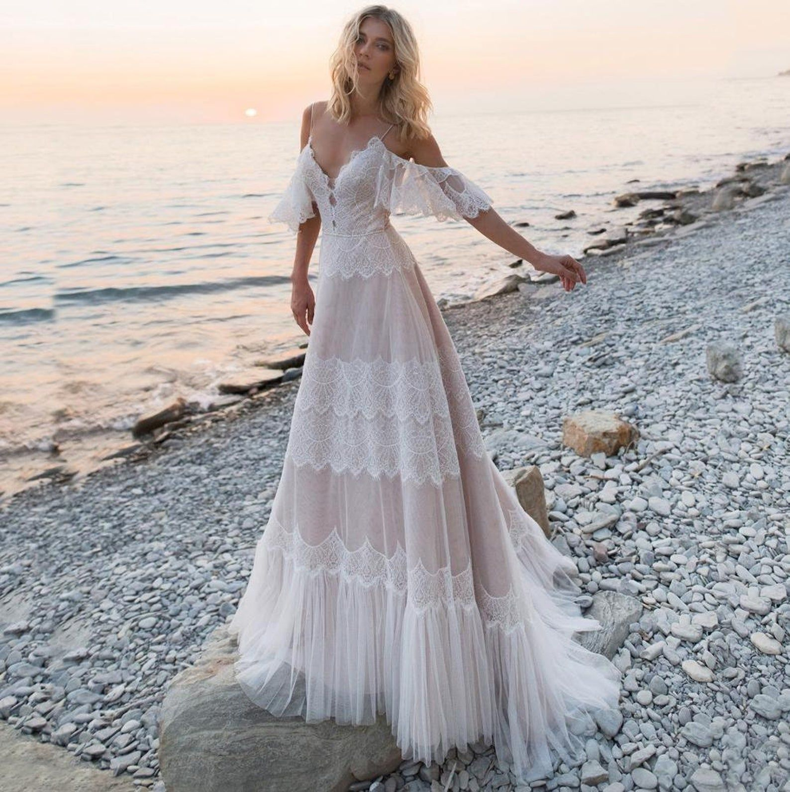 Spaghetti Straps Backless Lace Boho Wedding Dresses Etsy In 2020 Boho Wedding Dress Etsy Backless Bridal Gowns Boho Wedding Dress Lace