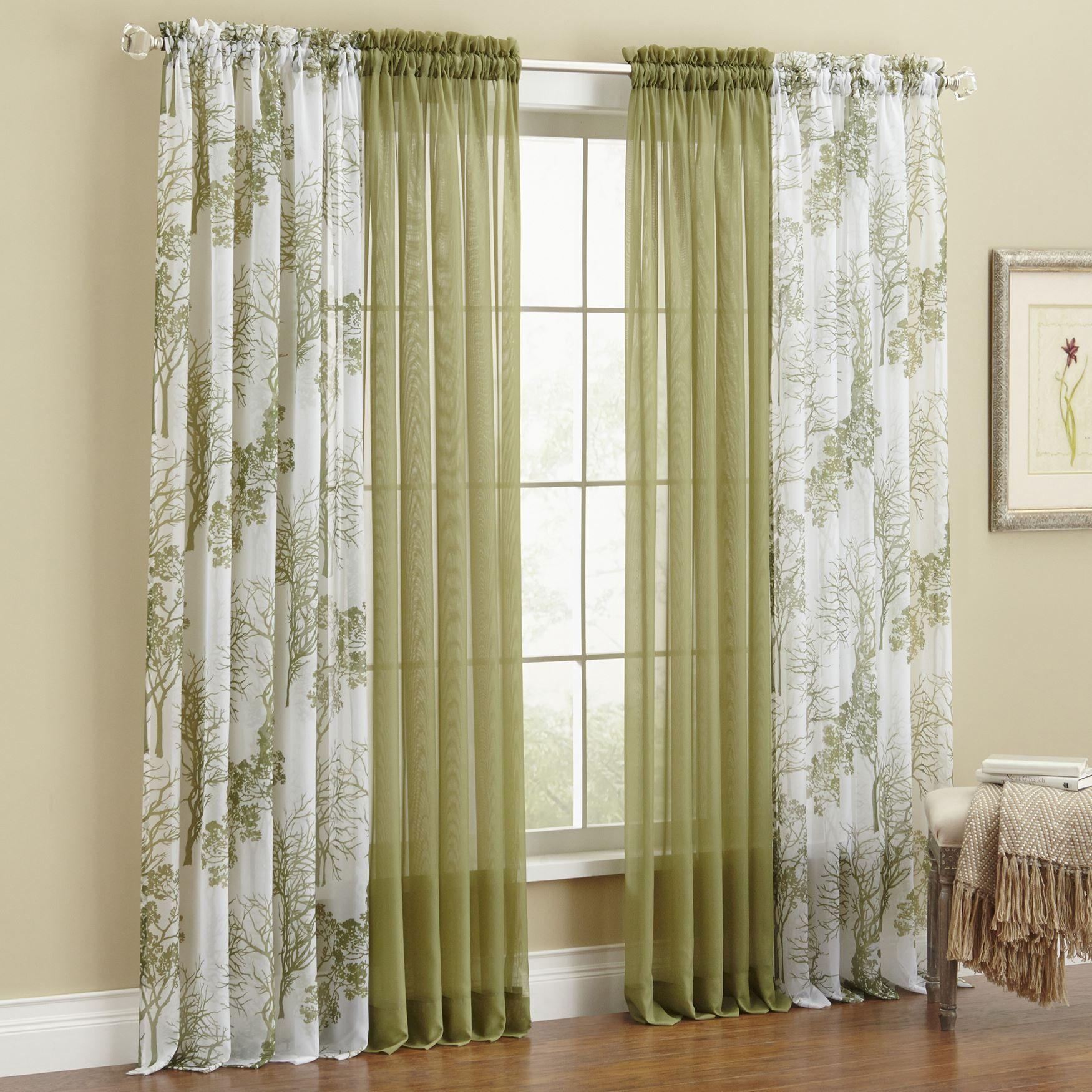 Printed Leaf Sheer Voile Rod-Pocket Curtain