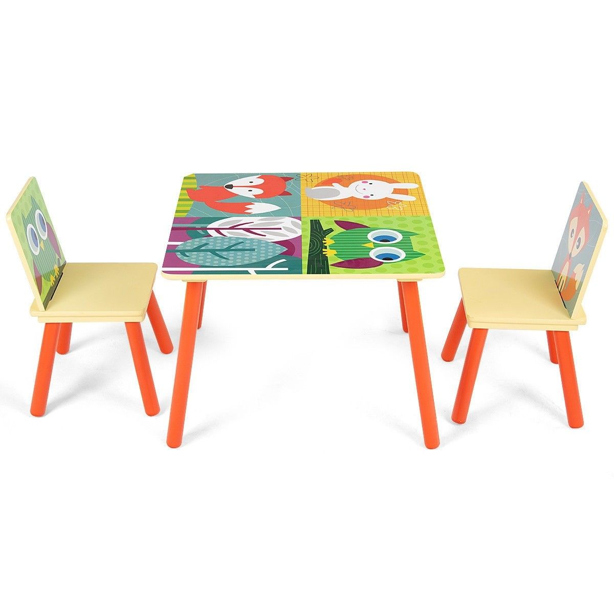 Wooden Cartoon Kids Table Chairs Set Of 2 Activity Table Desk Sets For Playing With Cartoon Kids Table Chair Set Toddler Table And Chairs Kids Table And Chairs