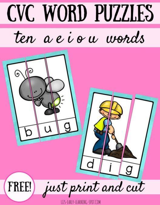 10 Free CVC Word Puzzles | Lenguaje y Arte