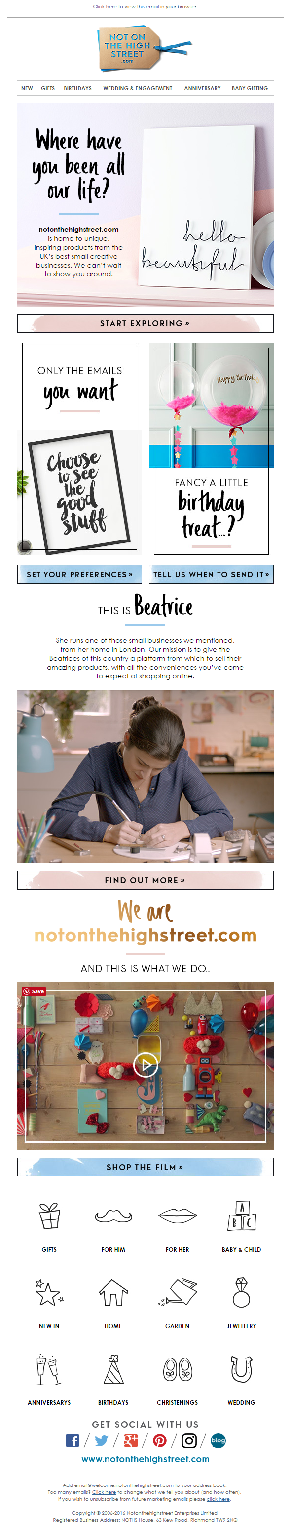 Welcome Email from NotOnTheHighstreet.com #EmailMarketing #Email ...