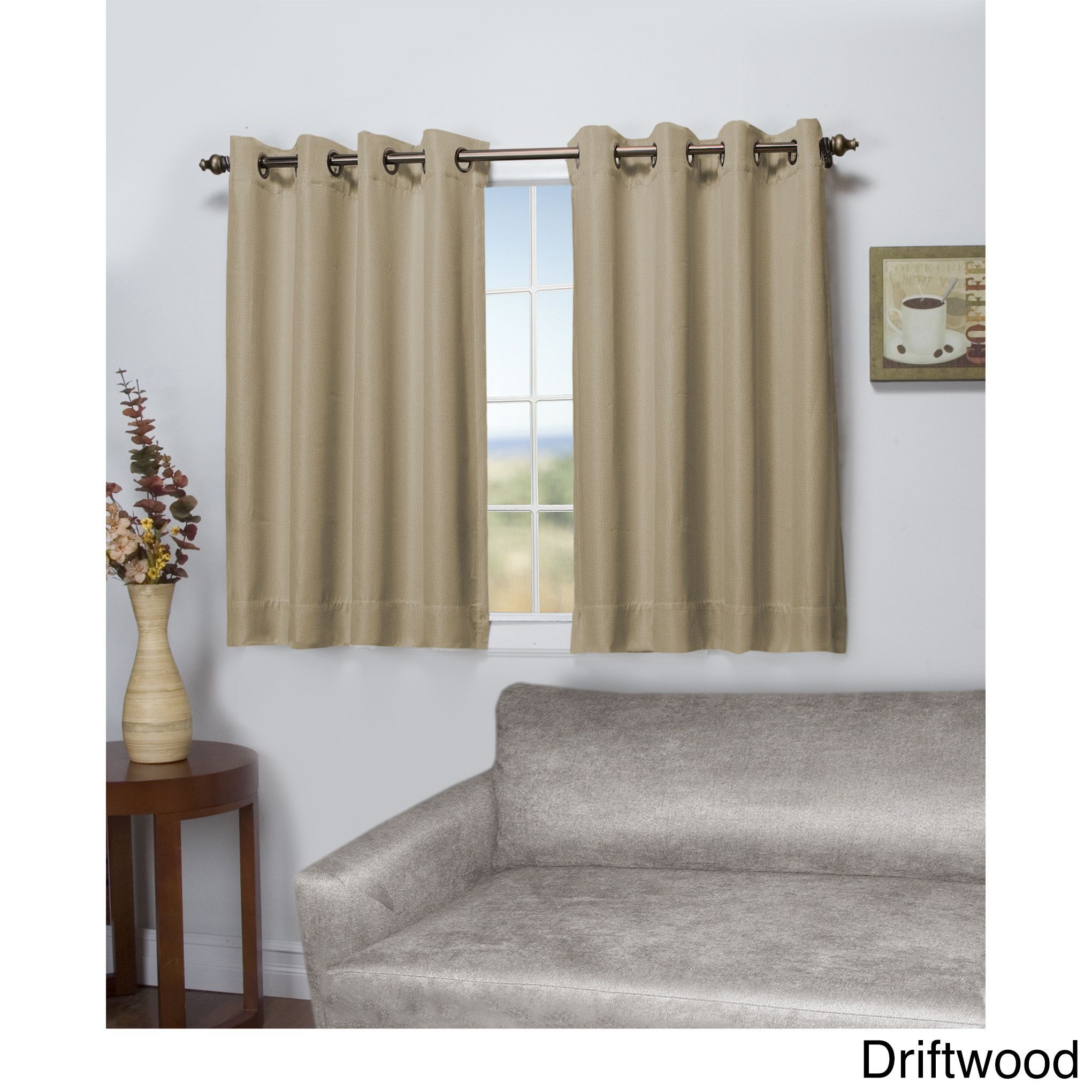 45 Inch Blackout Curtains Ricardo Tacoma Latte Double Blackout Short Length Grommet Curtain
