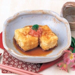 Deep Fried Tofu with Amber Sauce (Agedashi-dofu) - Click for a recipe