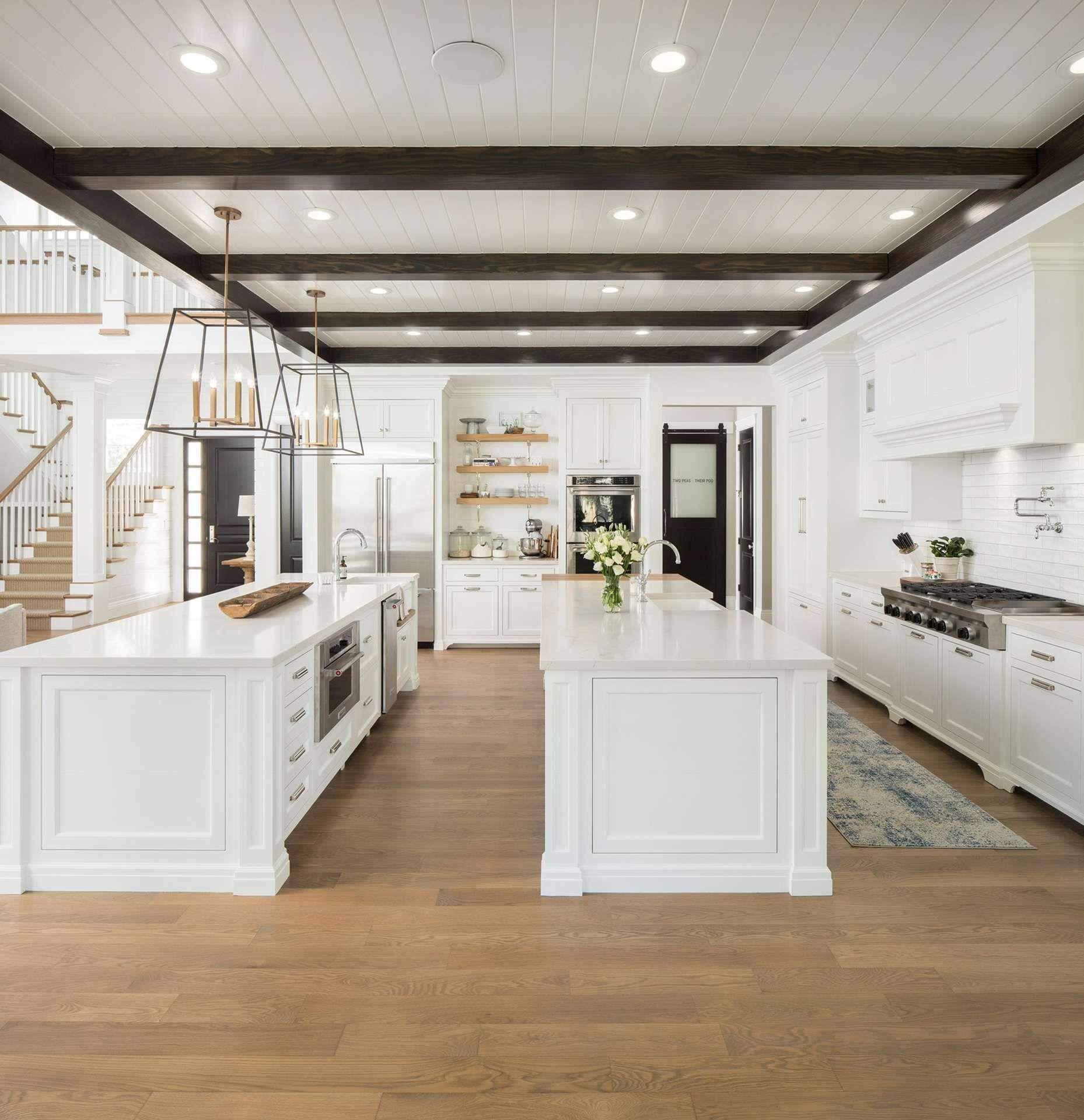 modern farmhouse 02 double island kitchen white wood kitchens on e kitchen ideas id=94298