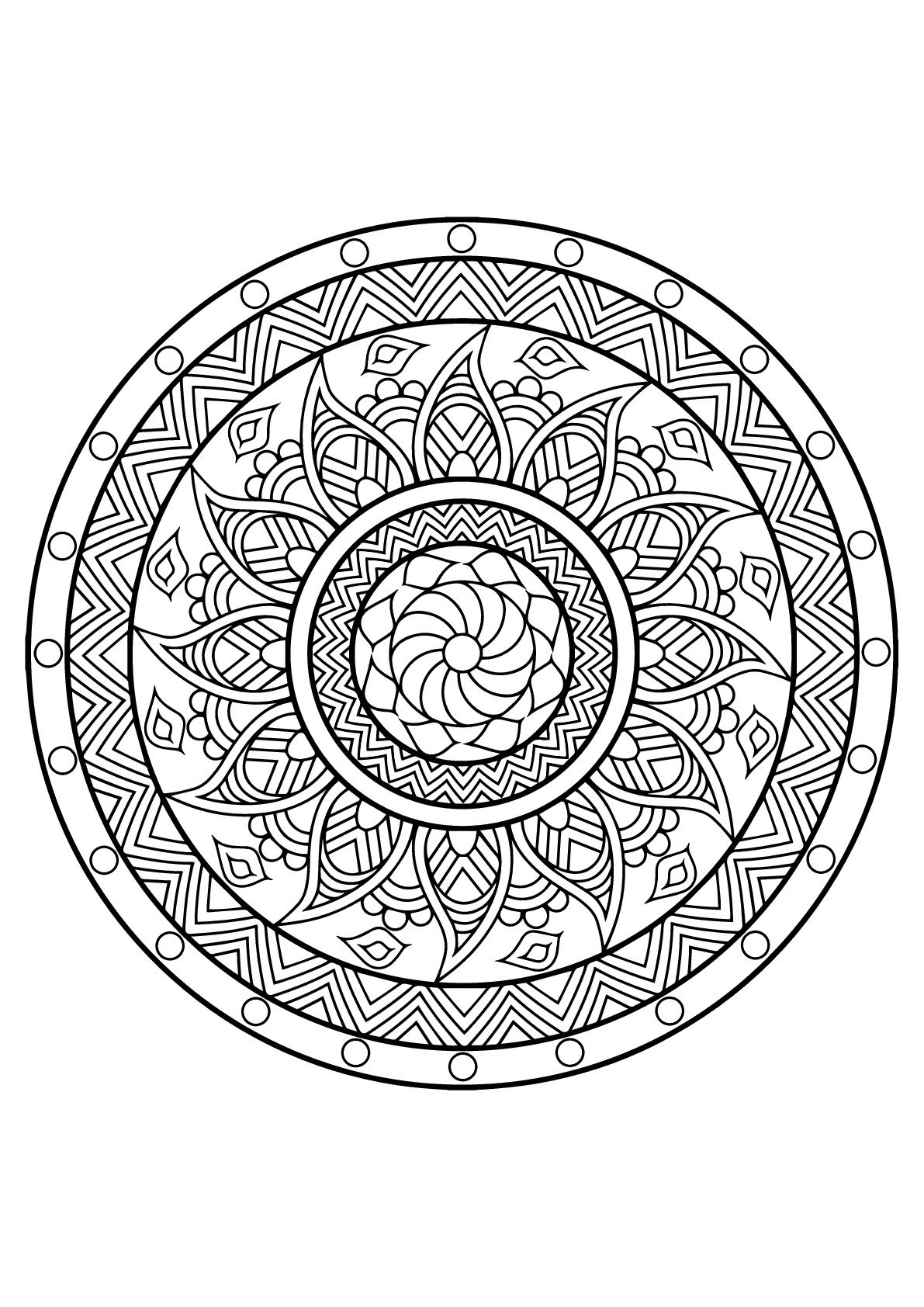 Mandala From Free Coloring Book For Adults From The Gallery