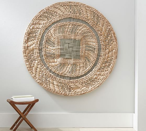 Round Woven Disc Wall Art Baskets On Wall Woven Wall