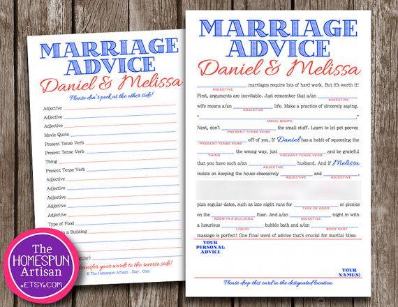Wedding Advice Mad Lib Fun Wedding Guest Book Personalized Etsy Wedding Guest Book Etsy Diy Wedding Guest Book Diy Guest Book