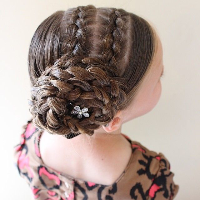 2 Double Pancaked Dutch Braids Into A Large Flower Bun Little Girl Hairstyles Girl Hairstyles Hair Styles