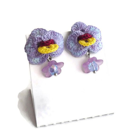 Purple Orchids Stud Earrings Hypoallergenic Earrings Crocheted Orchid Flower Boncuk Projeleri Boncuk Tig Isi Sablonu