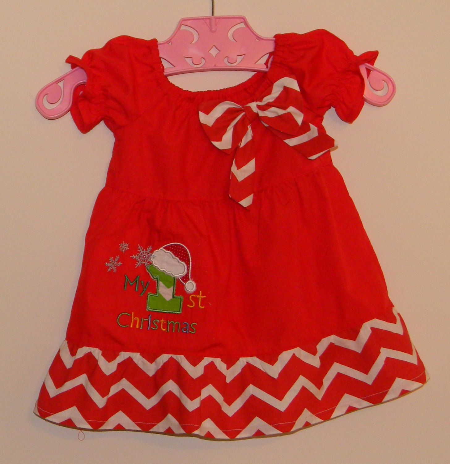 First Christmas Dress In Red With Red And By Carolinakidzclothing,