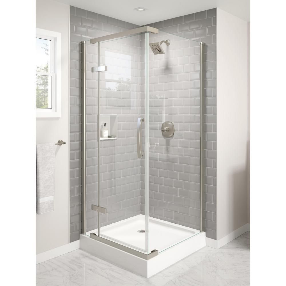Delta 36 In X 36 In X 76 In 3 Piece Corner Hinged Frameless Shower Enclosure In Stainless In 2020 Bathroom Remodel Shower Frameless Shower Enclosures Shower Doors