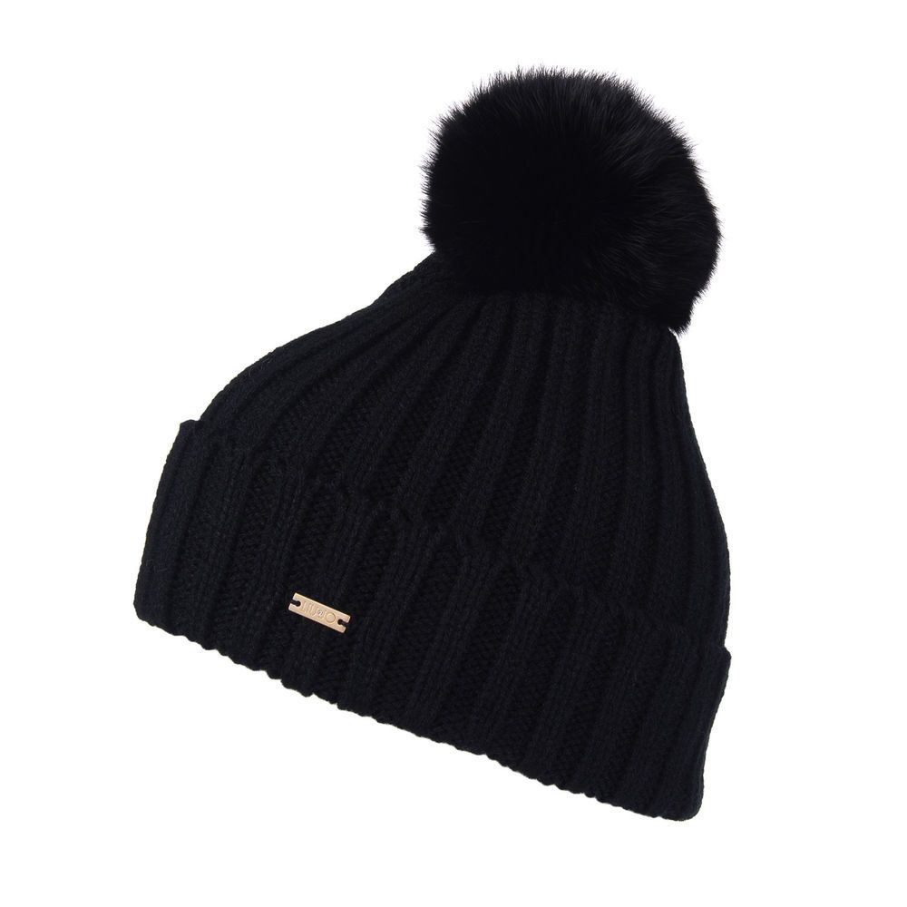4159a475efa LIU JO JUNIOR Beanie Cap Size M Black Rabbit Fur Pom Pom Bobble Knitted   fashion  clothing  shoes  accessories  womensaccessories  hats (ebay link)