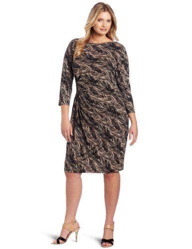 1 10367472 Anne Klein Womens Plus Size Dress Blackoff White 2x