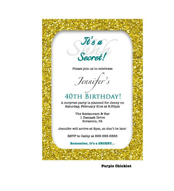 30th 40th 50th birthday invitation gold glitter glam surprise party teal printable cocktail dinner party adult