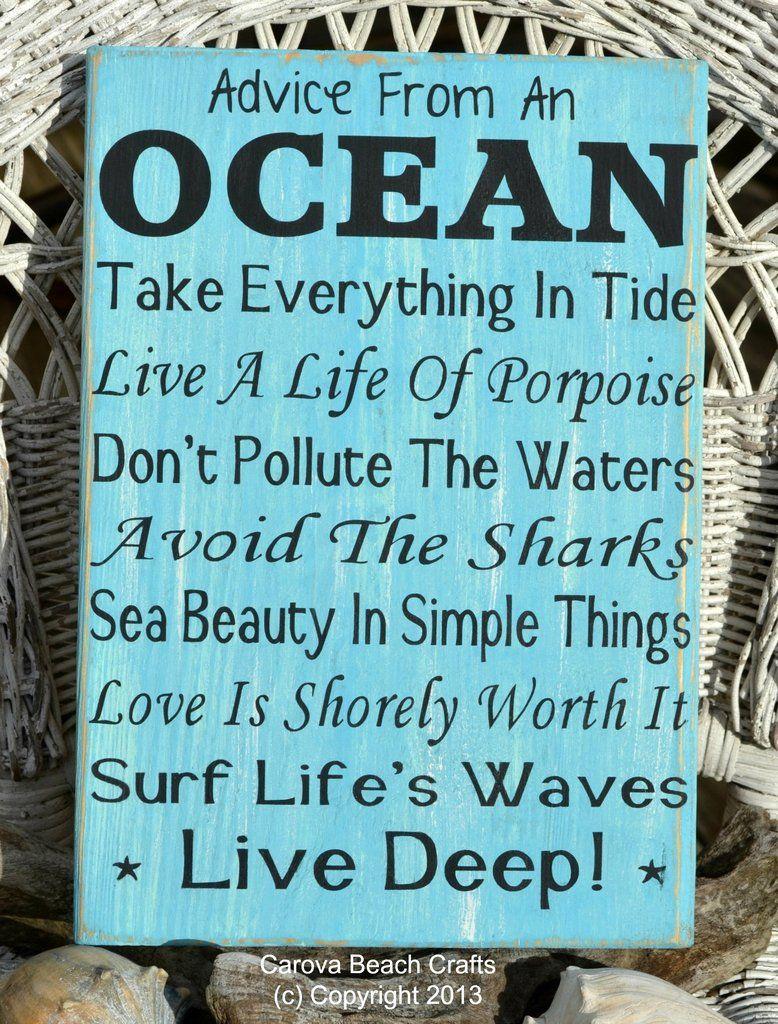 Advice From An The Ocean Wood Sign Beach Decor Inspirational Wall Art Aqua Blue Mint Seafoam Green Hand Painted Beach Decor