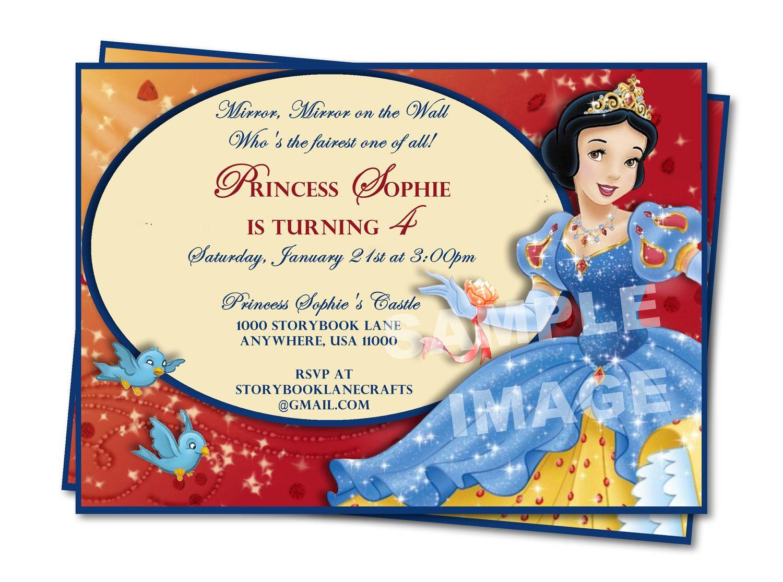 Disney Snow White Birthday Invitation By
