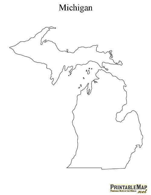 Printable State Outlines With Images Map Of Michigan