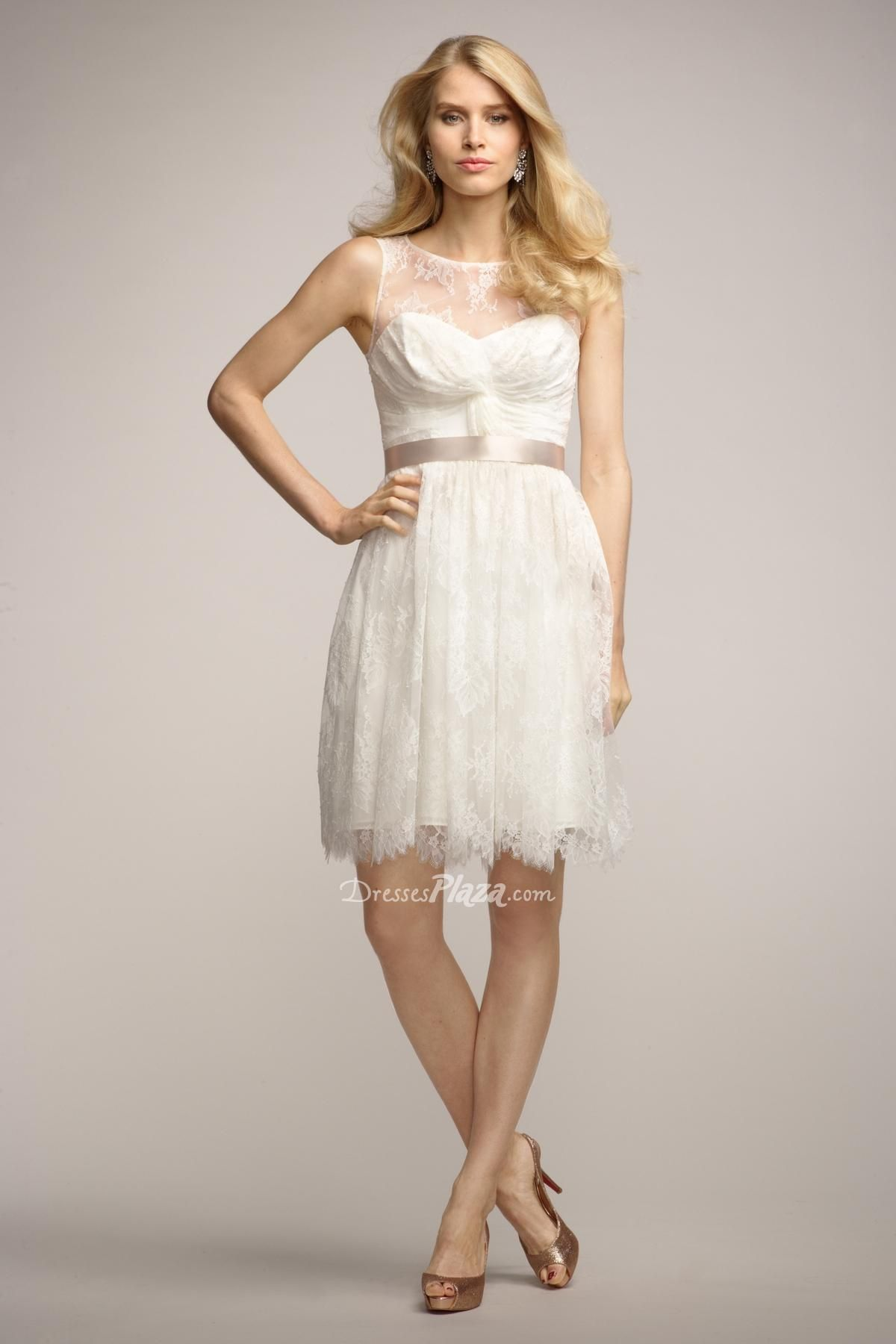 Best ivory illusion lace sleeveless sweetheart a line cocktail dress