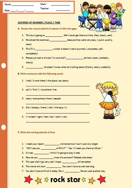 Adverbs Of Manner Place And Time Worksheet Time Worksheets Adverbs Adverbs Worksheet