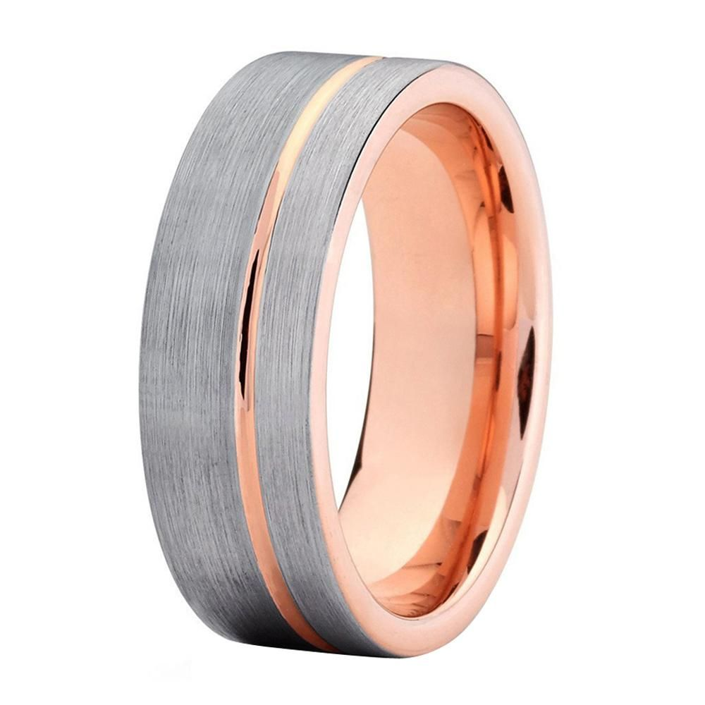 Mens Wedding Band Rose Gold Ring 8mm Tungsten Carbide 18k Male