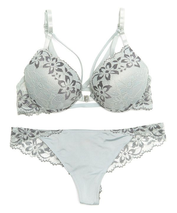 161b005d73c558 Look at this René Rofé Gray Floral Lace Party in the Back Bra   Thong on   zulily today!