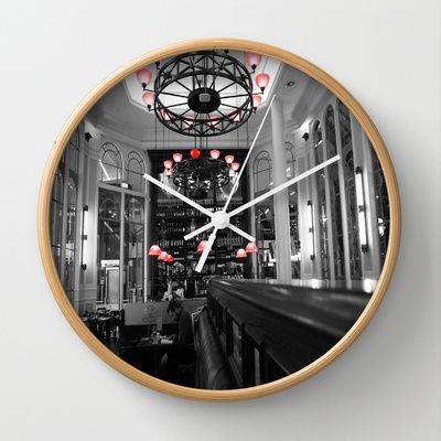 Red Lamps Wall Clock by Angelika Kimmig - $30.00