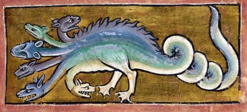 hydraBestiary, England ca. 1200-1210.  British Library, Royal 12C XIX, fol. 13r