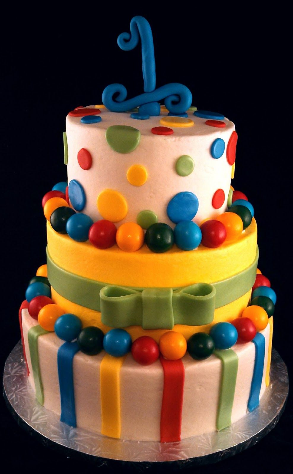Sugar & Spice Sweets Primary Colors First Birthday Cake