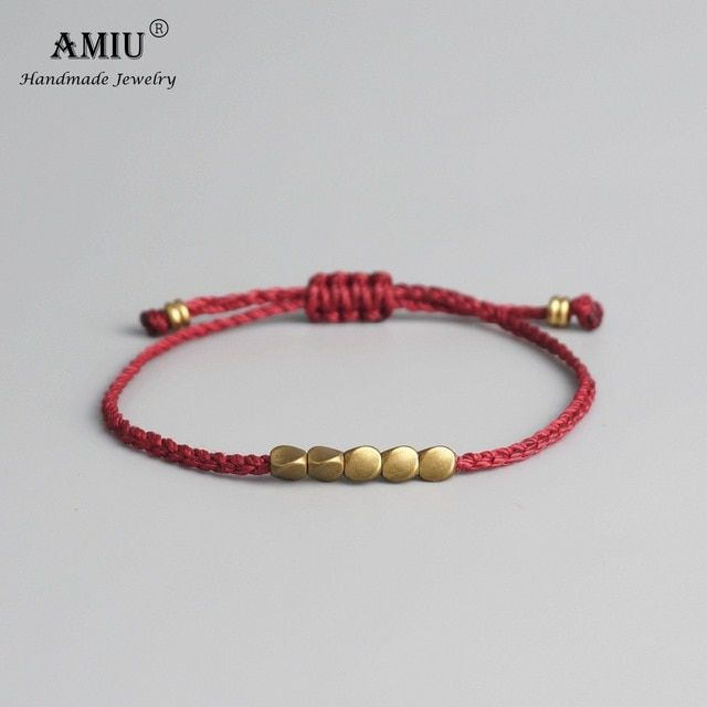 AMIU Handmade Tibetan Copper Bead Lucky Rope Bracelet  c5dc135deda2