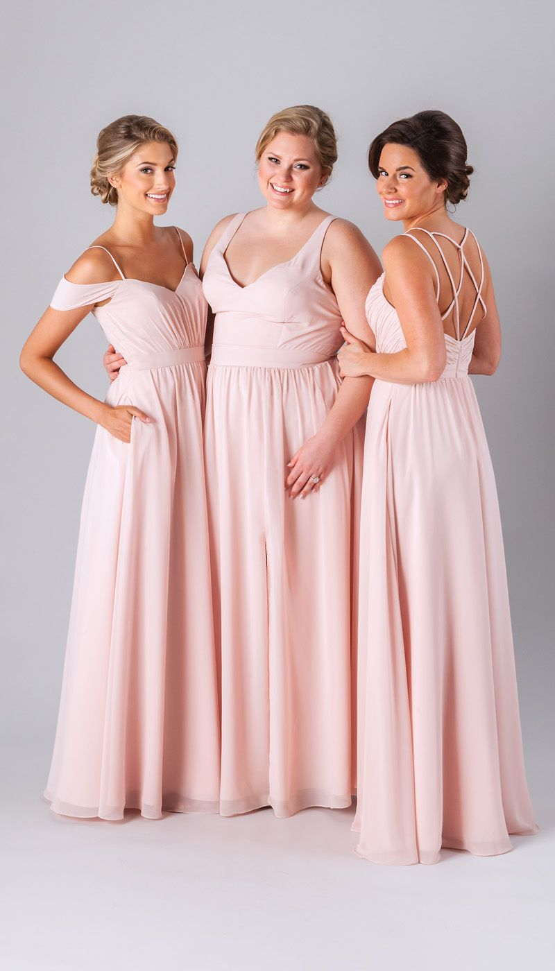 Mismatched bridesmaid dresses in blush. | Mismatched Bridesmaid ...