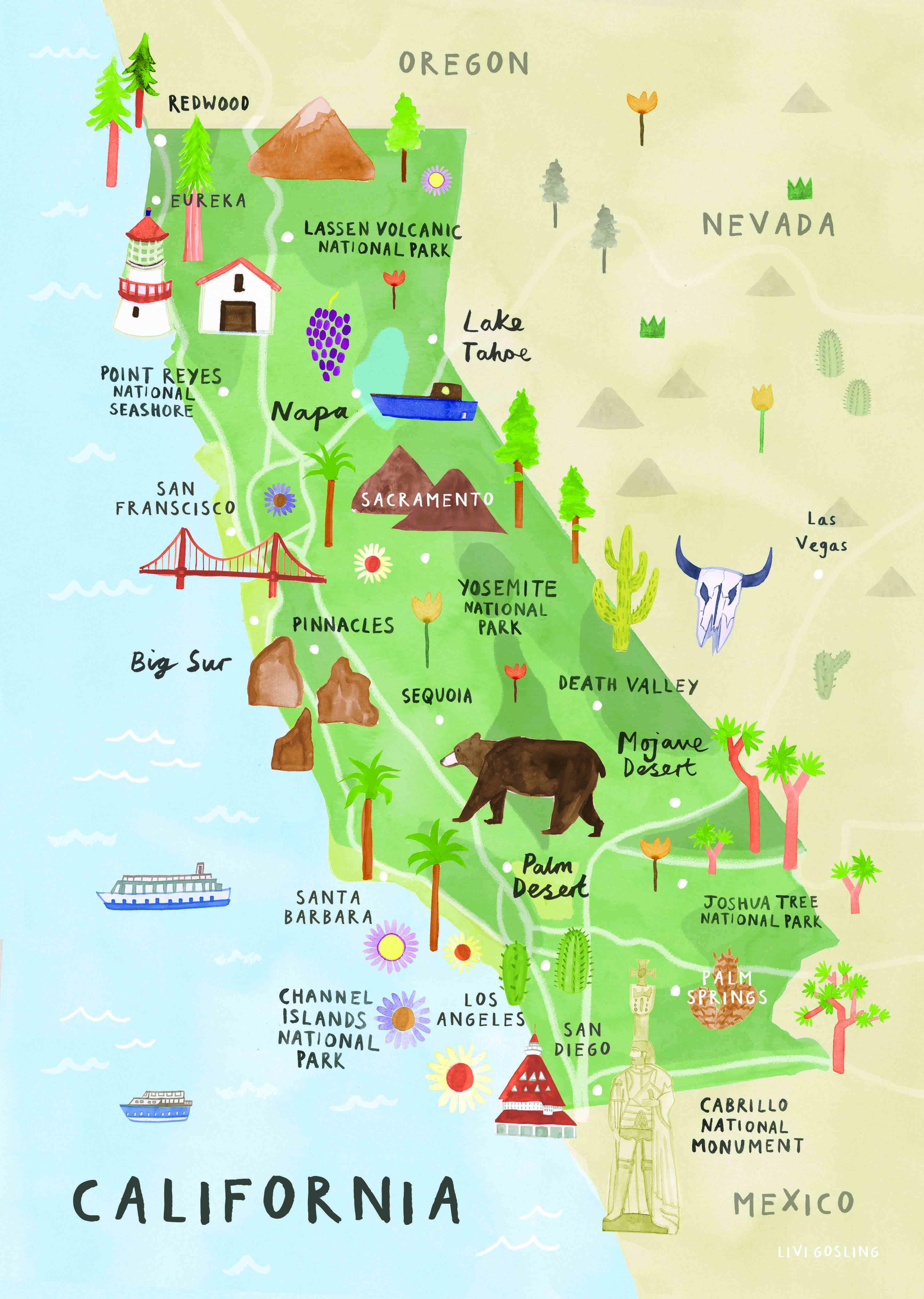 Livi Gosling California Travel Road Trips California Map