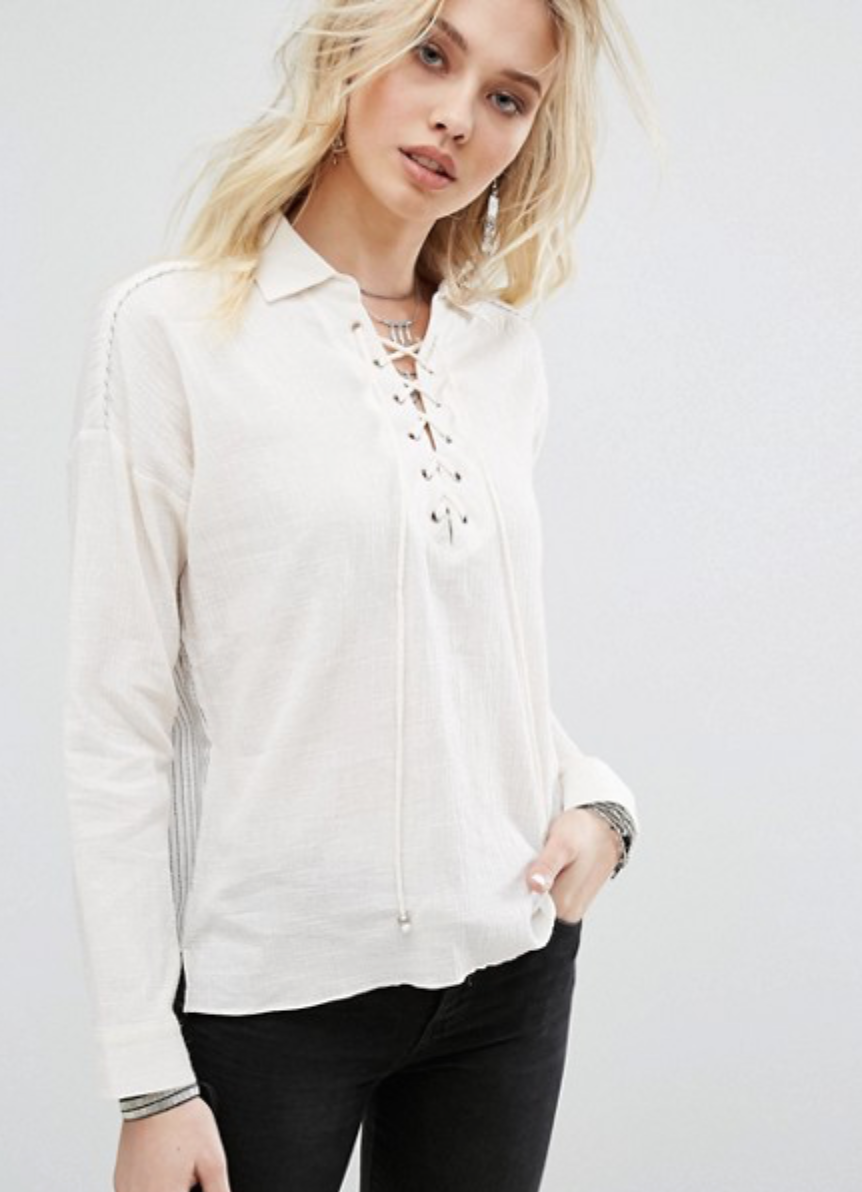 Honey Punch Lace Up Shirt