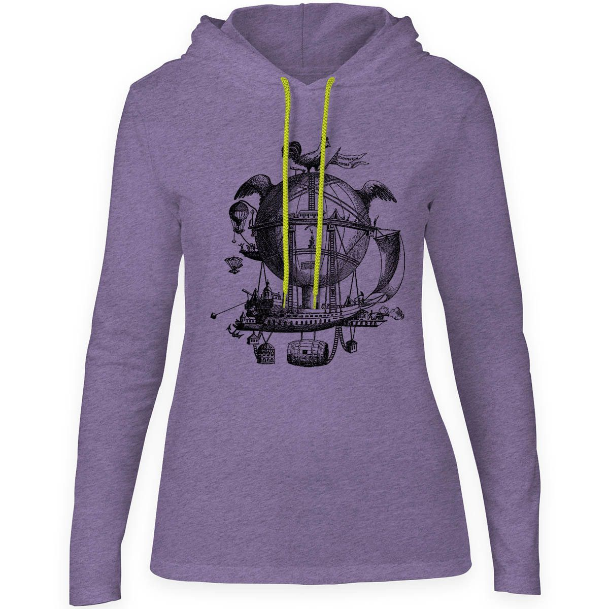 Mintage The Amazing Sky Machine Womens Fine Jersey Hooded T-Shirt