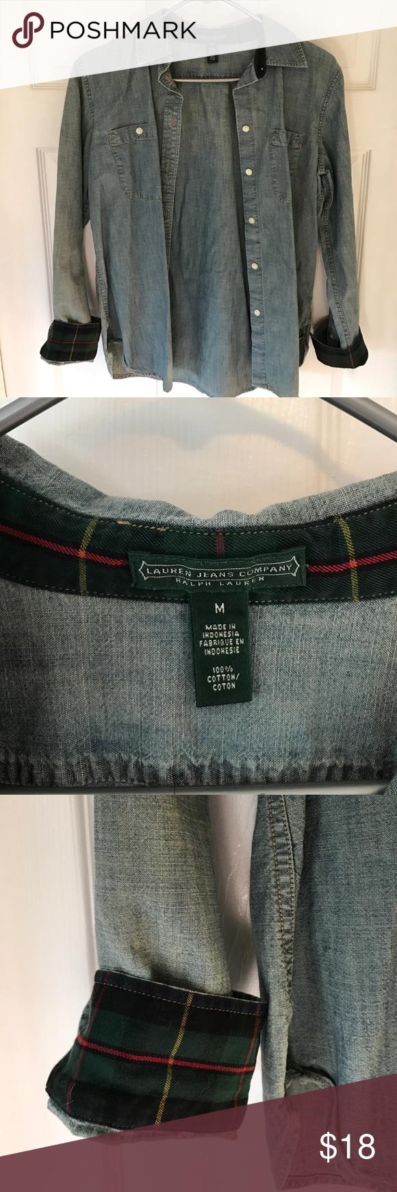 Ralph Lauren Chambray Shirt Ralph Lauren button up top, lightweight denim, size Med. plaid detailing along collar and cuffs Ralph Lauren Tops Button Down Shirts
