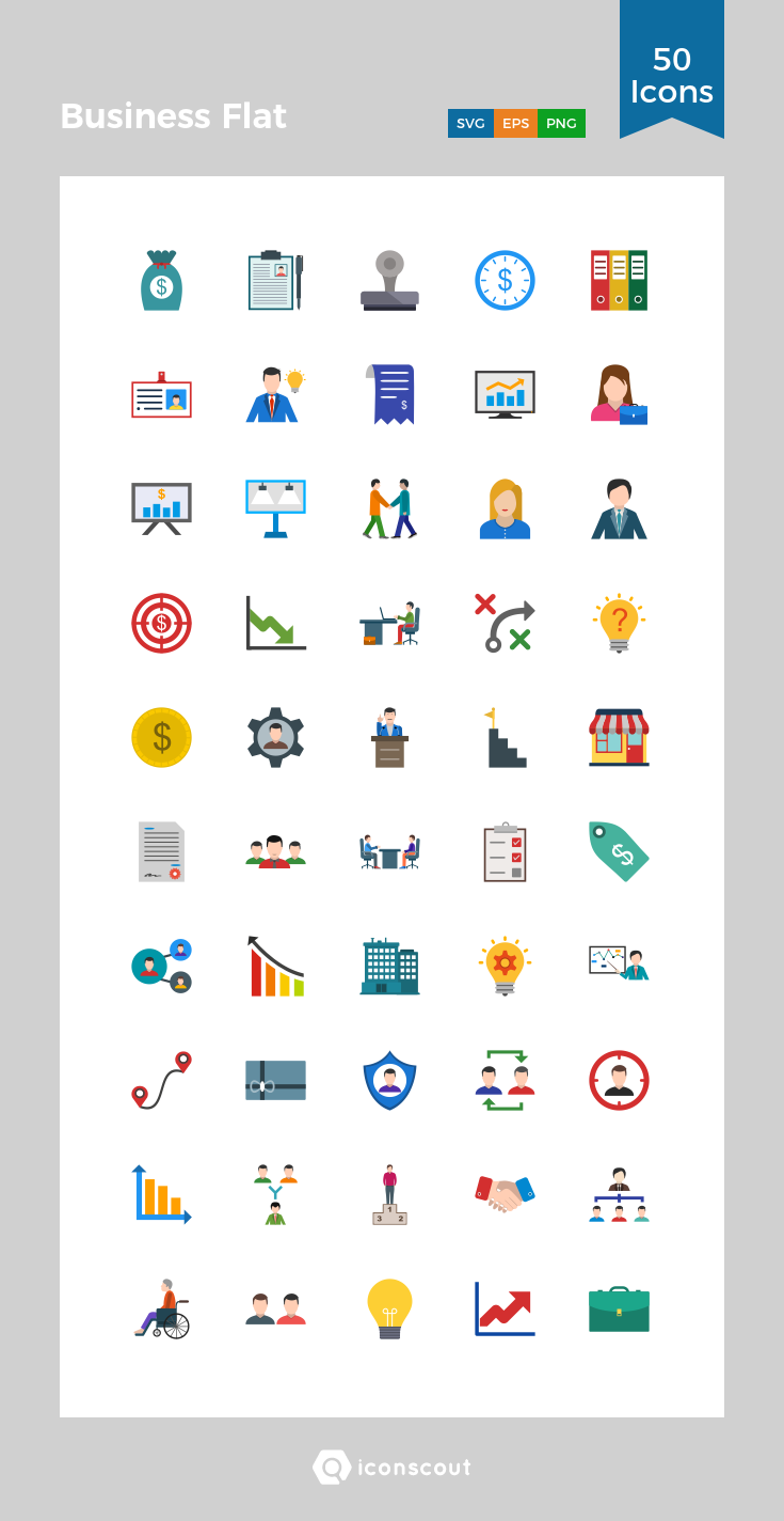 Download Business Flat Icon pack Available in SVG, PNG