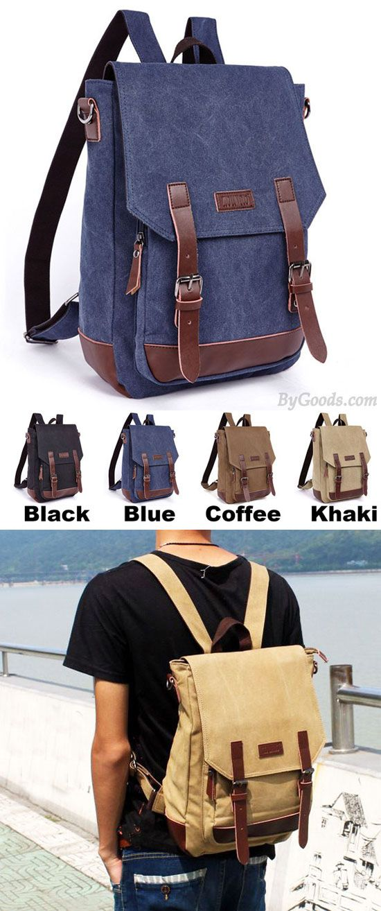Retro Splicing PU Belts Flap Laptop Bag School Canvas Backpack Travel  Square Rucksack for big sale!  laptop  retro  school  school  backpack  Bag   college ... 70c69a0f09