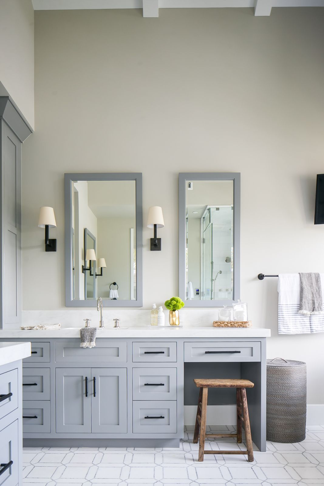 Matte Black Hardware RoundUP Grey bathroom vanity