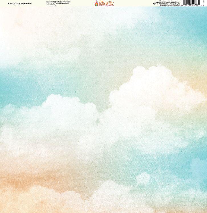 Ella And Viv Paper Company Watercolor Dreams Cloudy Sky Watercolor