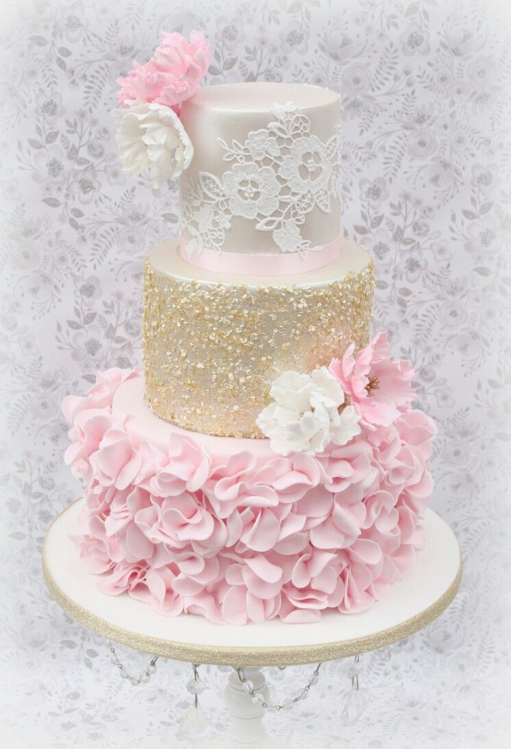 Ruffle Lace And Sequin Wedding Cake Wedding And Bridal Cakes