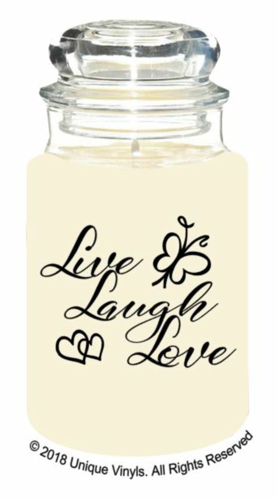 Live laugh love quote vinyl sticker for candle jar cheap sticker label