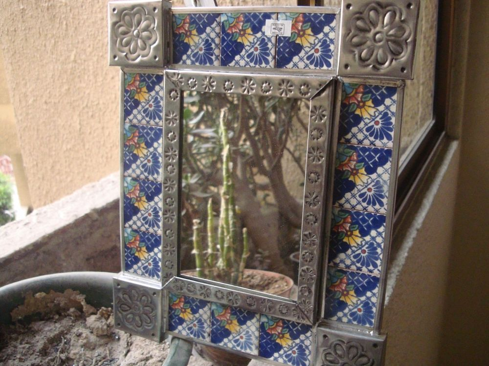 D Punched Tin And Talavera Tile Mirror