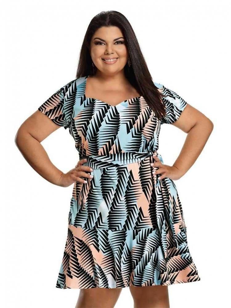 0e05af54a1450c Vestido Plus Size Evase Estampado | Madame Chic | Madame Chic | Plus ...