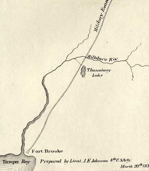 Detail Map of Major Dade Battle Ground Fort Brooke