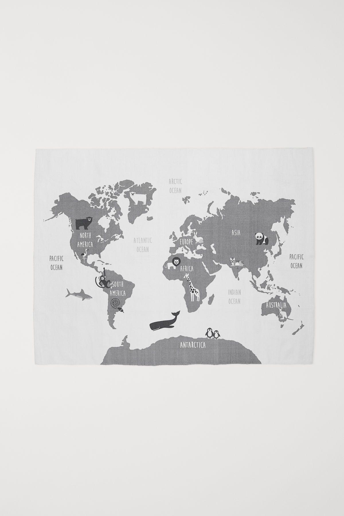 Weiß Landkarte Baumwollteppich mit Motivdruck auf der Oberseite