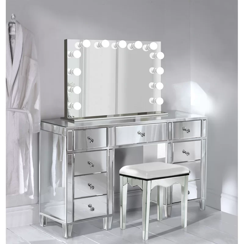 Escamilla Vanity Set With Mirror Vanity Set With Mirror Beauty Room Vanity Mirrored Vanity Table